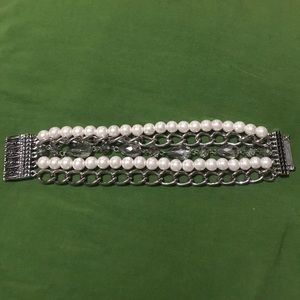 5 Strand Pearl, Crystal & Chain Link Bracelet